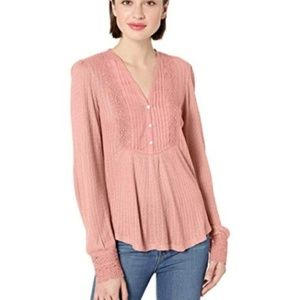 Lucky Brand Lace Mix Drop Needle Top Size Small